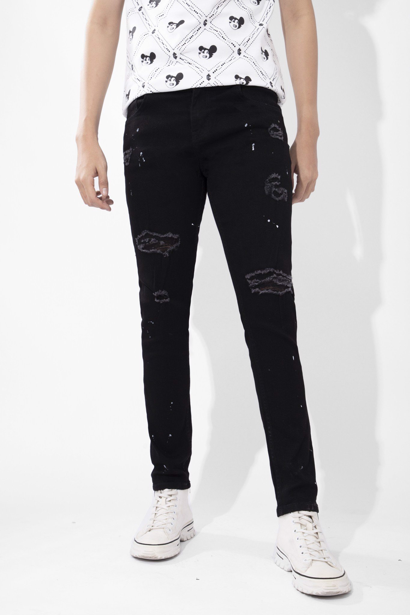 Quần Jeans Skinny All Black W Splatter