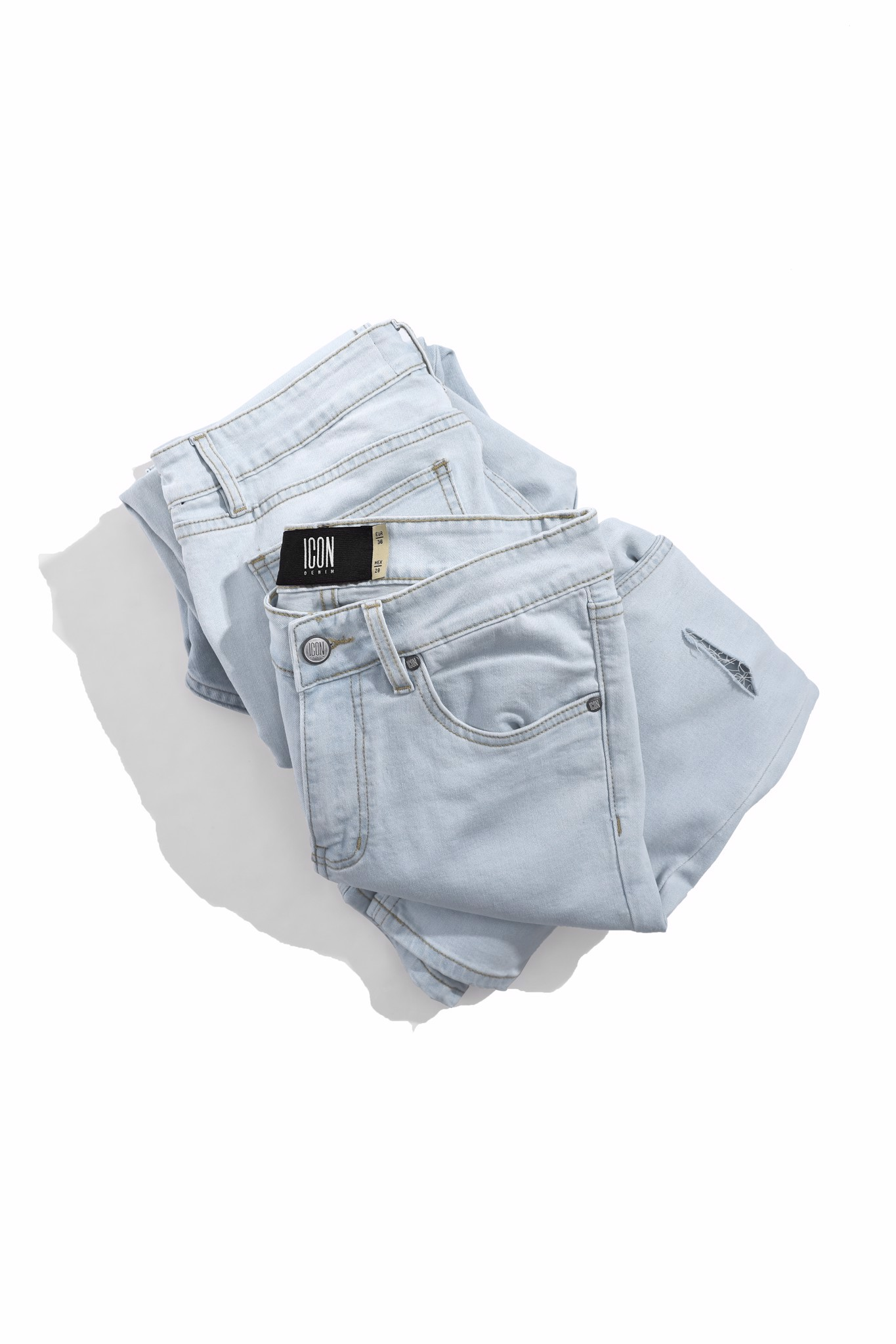 Quần Jean Skinny ICON Light Wash Rách Gối