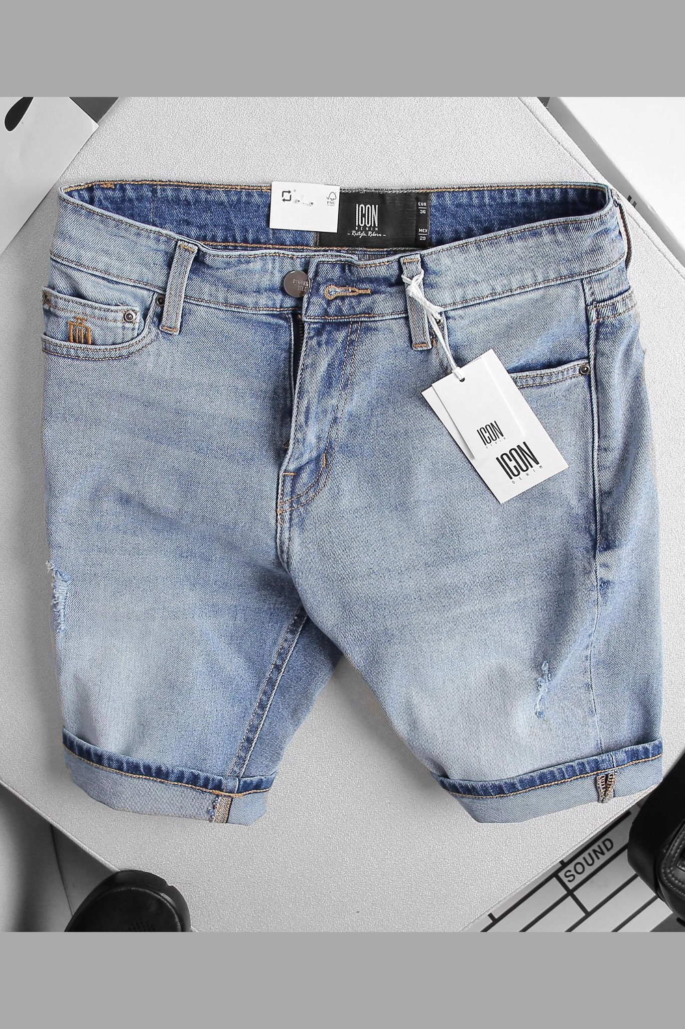 Quần Short Jean Wash W ID Embroidered Pocket