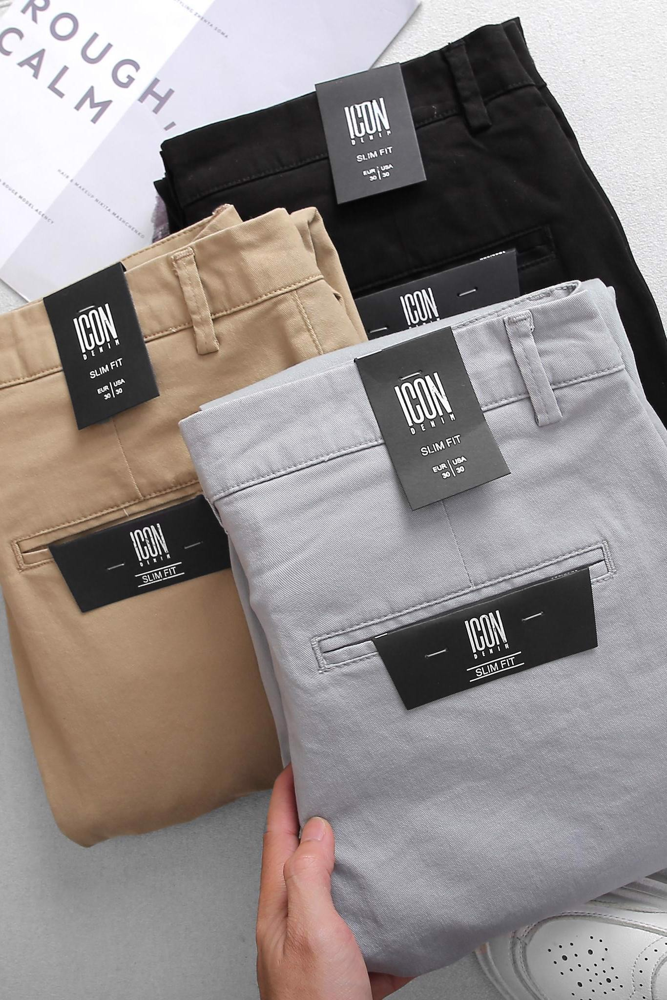 Quần Kaki Slim-fit In Basic