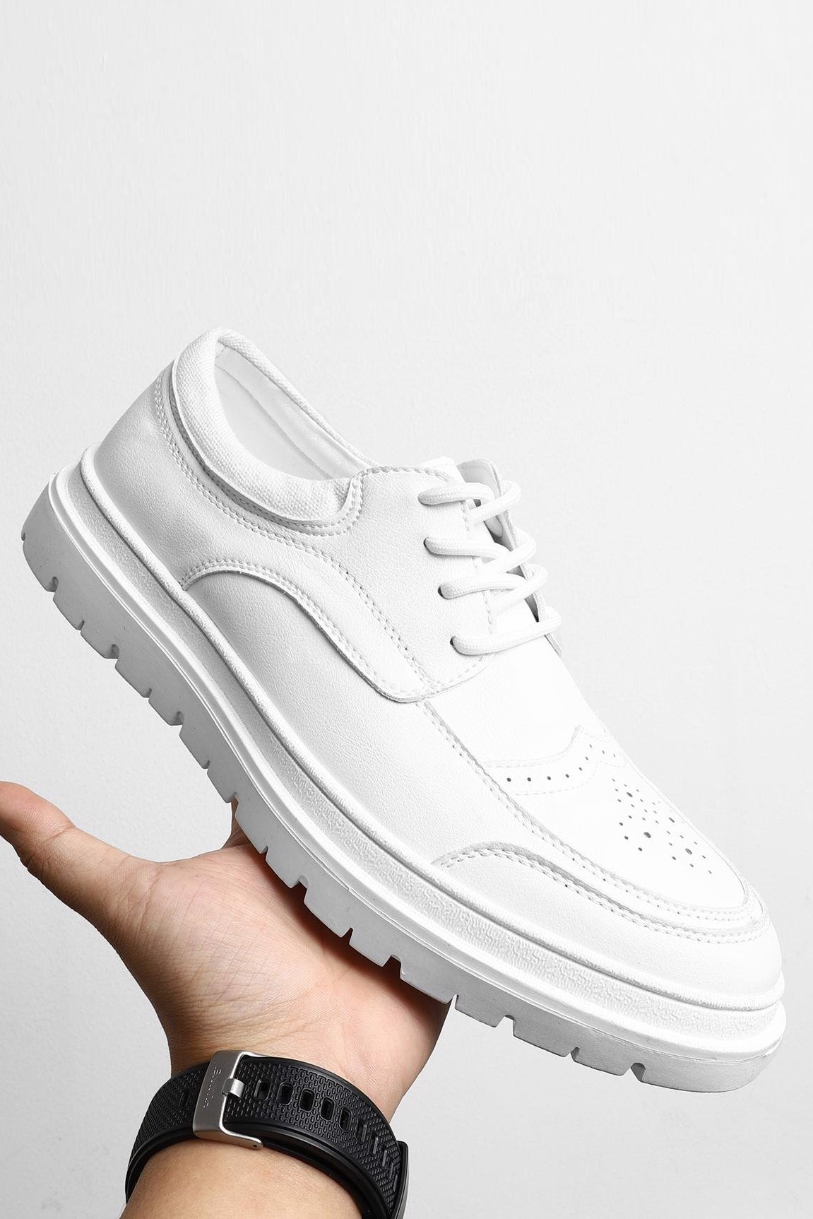 Giày Boat Lace Up In White