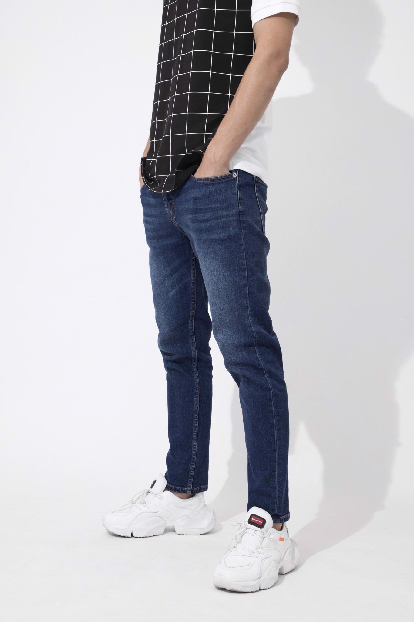 Quần Jean Dark Blue W Zipped Pocket
