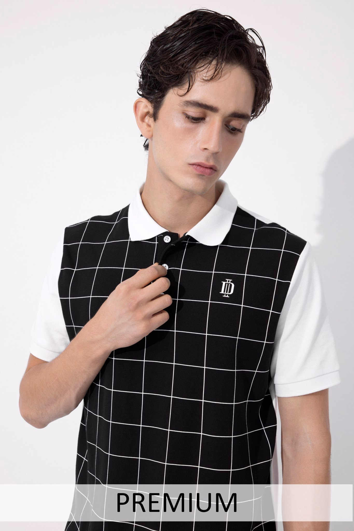 Áo Polo UB Windowpane In Black & White