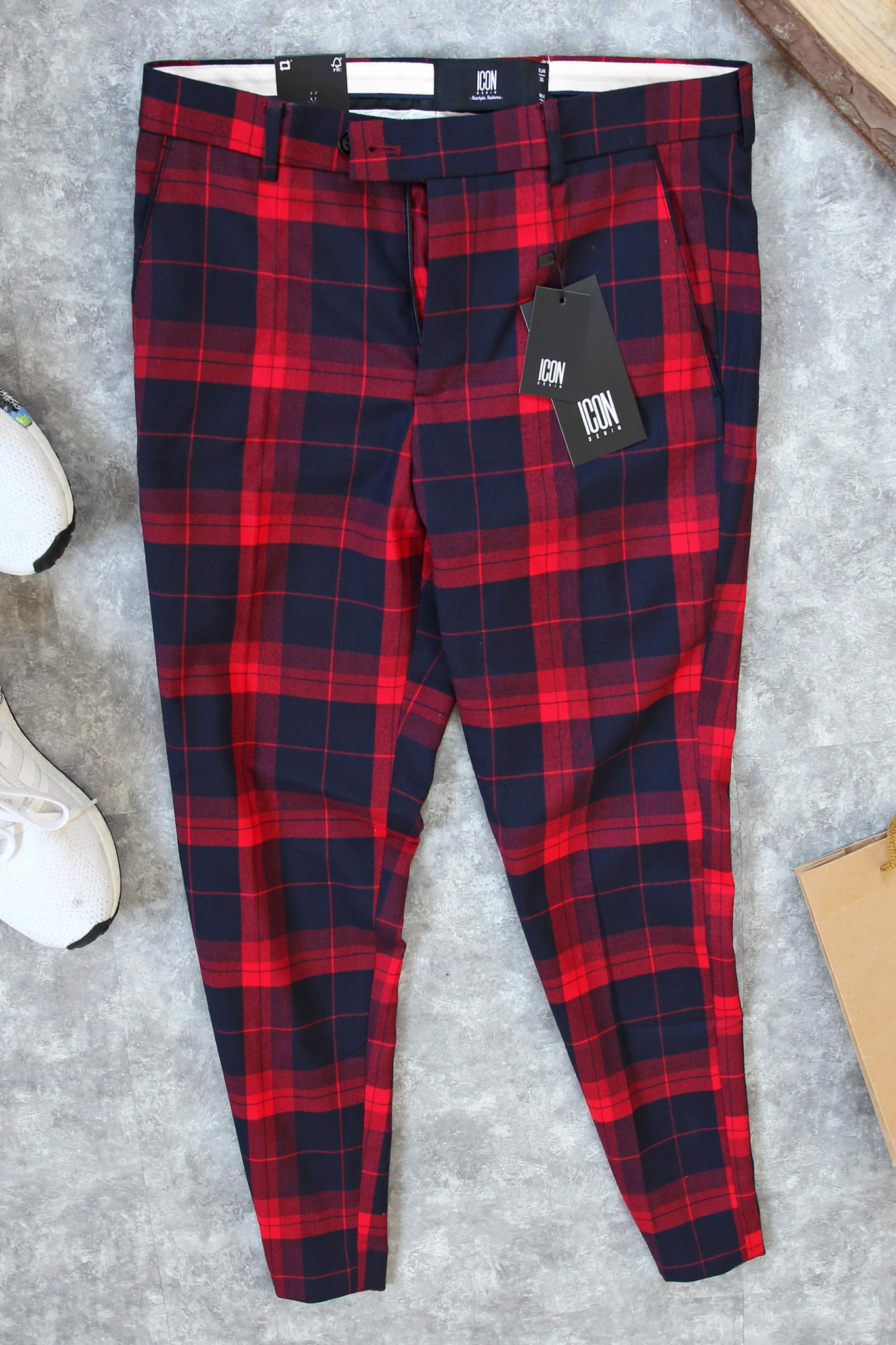Quần Tây Plaid In Red