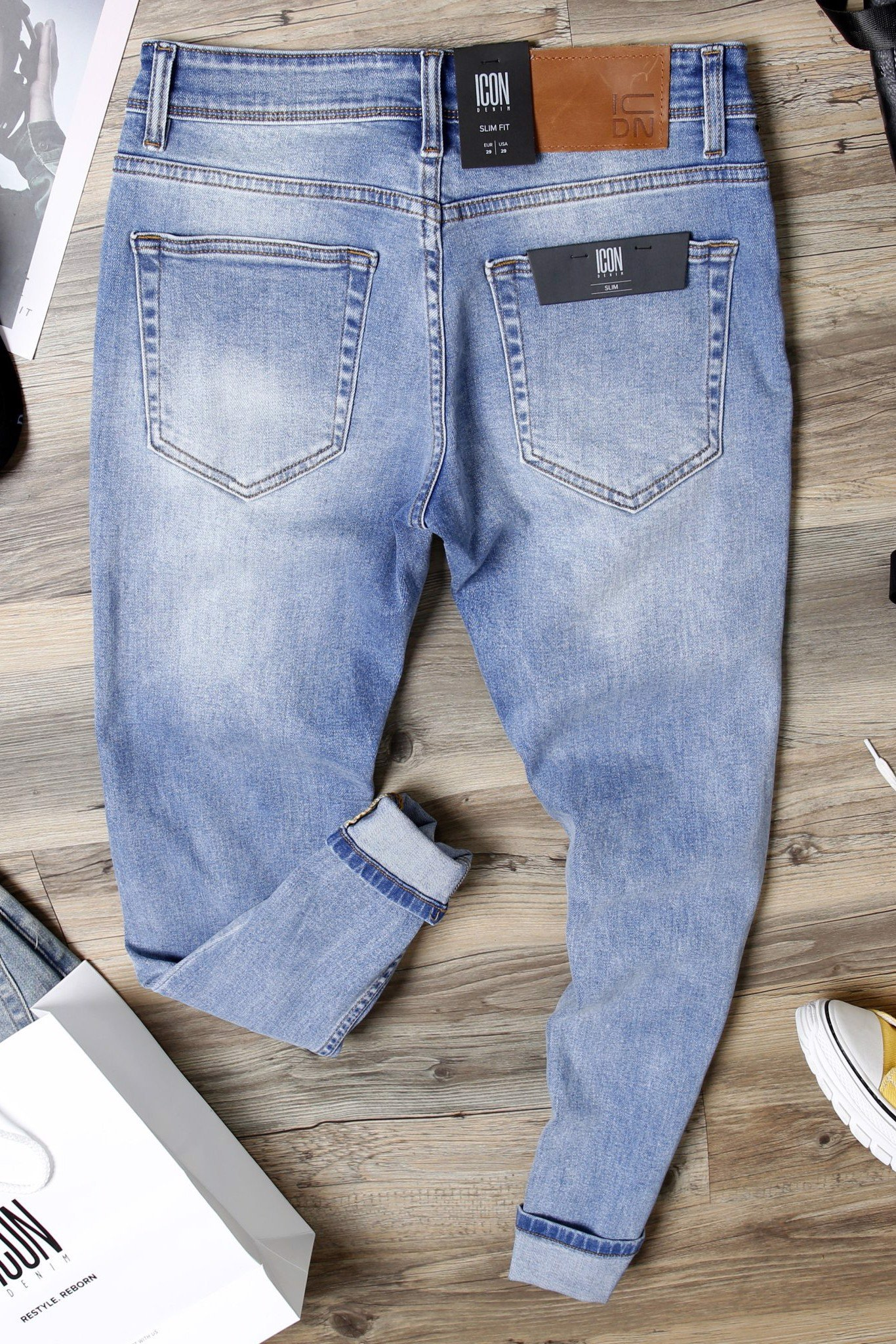 Quần Jean Ripped W Zipped Pocket