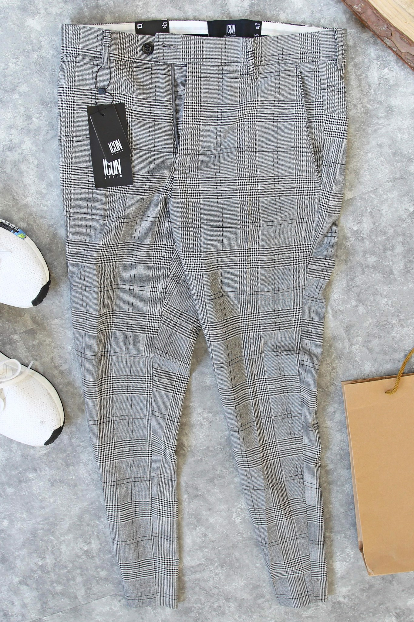 Quần Tây Plaid In Light Grey