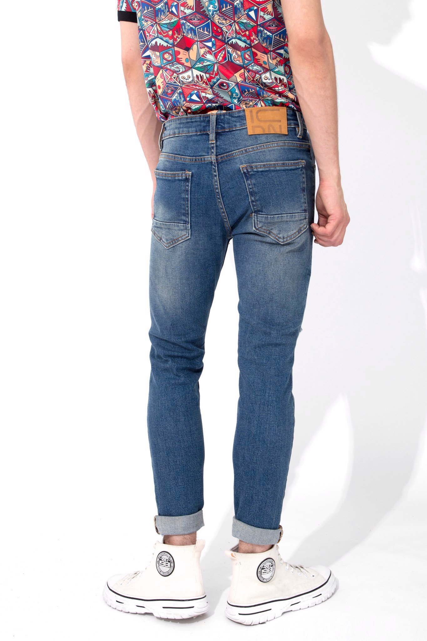 Quần Jean Skinny In Dirty Blue W Rips