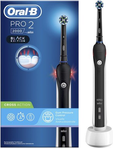 Bàn chải đánh răng điện Braun Oral-B Pro 2/2000 Cross Action Black Edition - Made in Germany