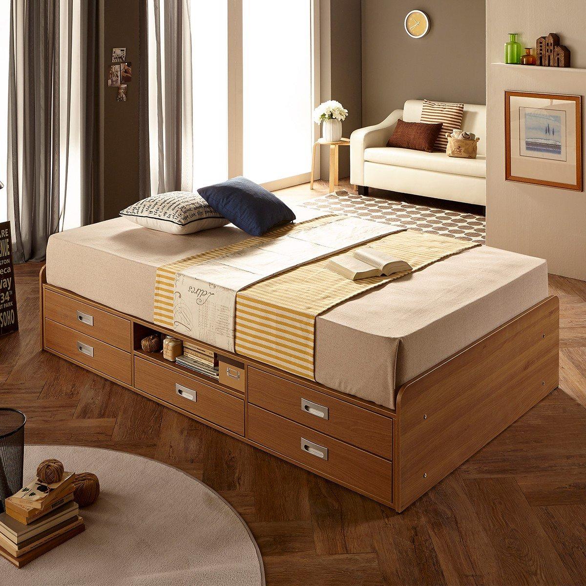Giường gỗ size SS có ngăn kéo 2 tầng