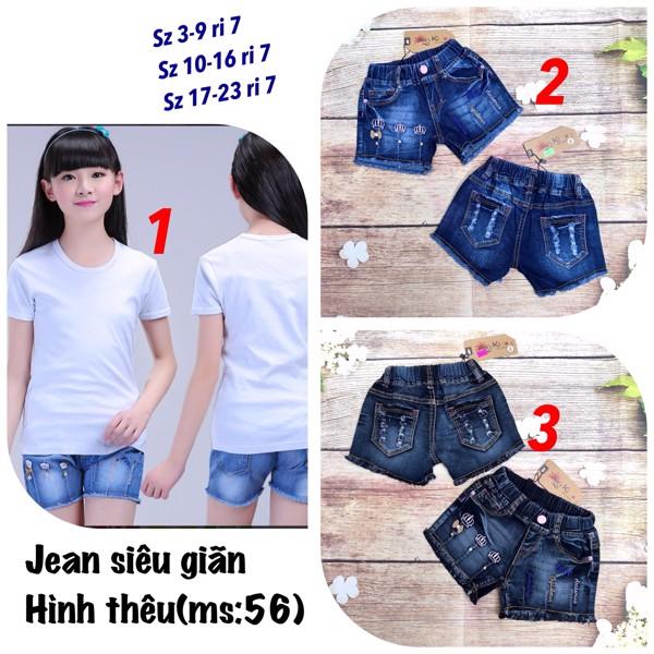 quần short jean bé gái