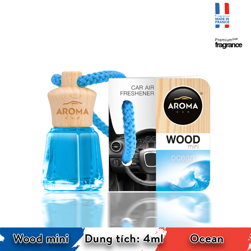 Tinh dầu treo Aroma Car Wood mini 4ml - Ocean/ACW4-04