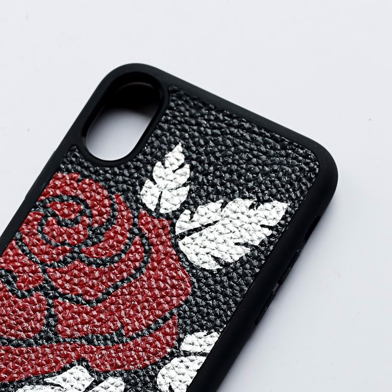Case iPhone X De33-Rose dát bạc thật
