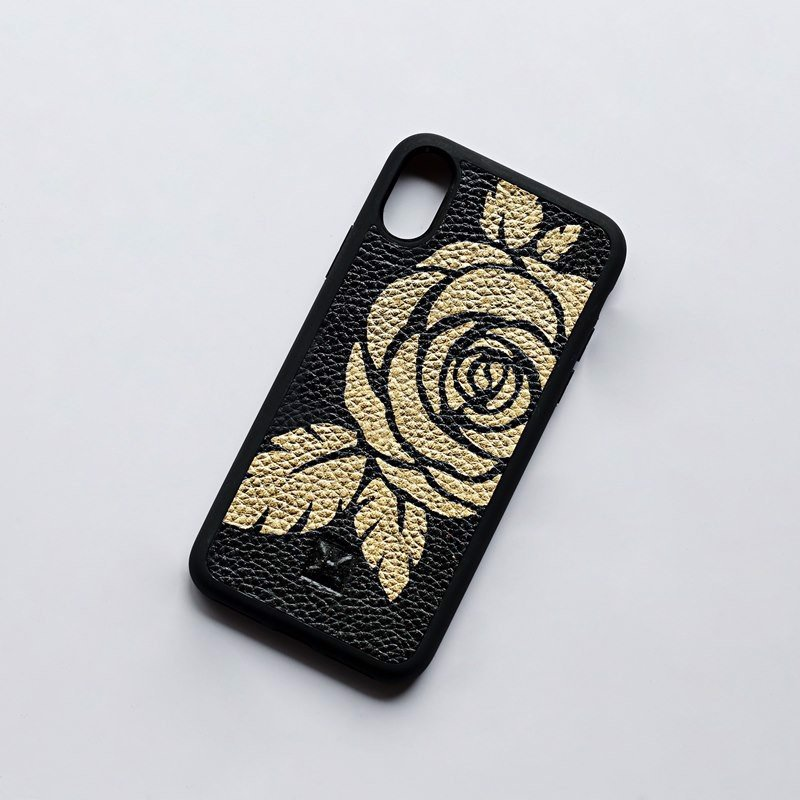 Case iPhone X De33-Rose dát vàng 24K