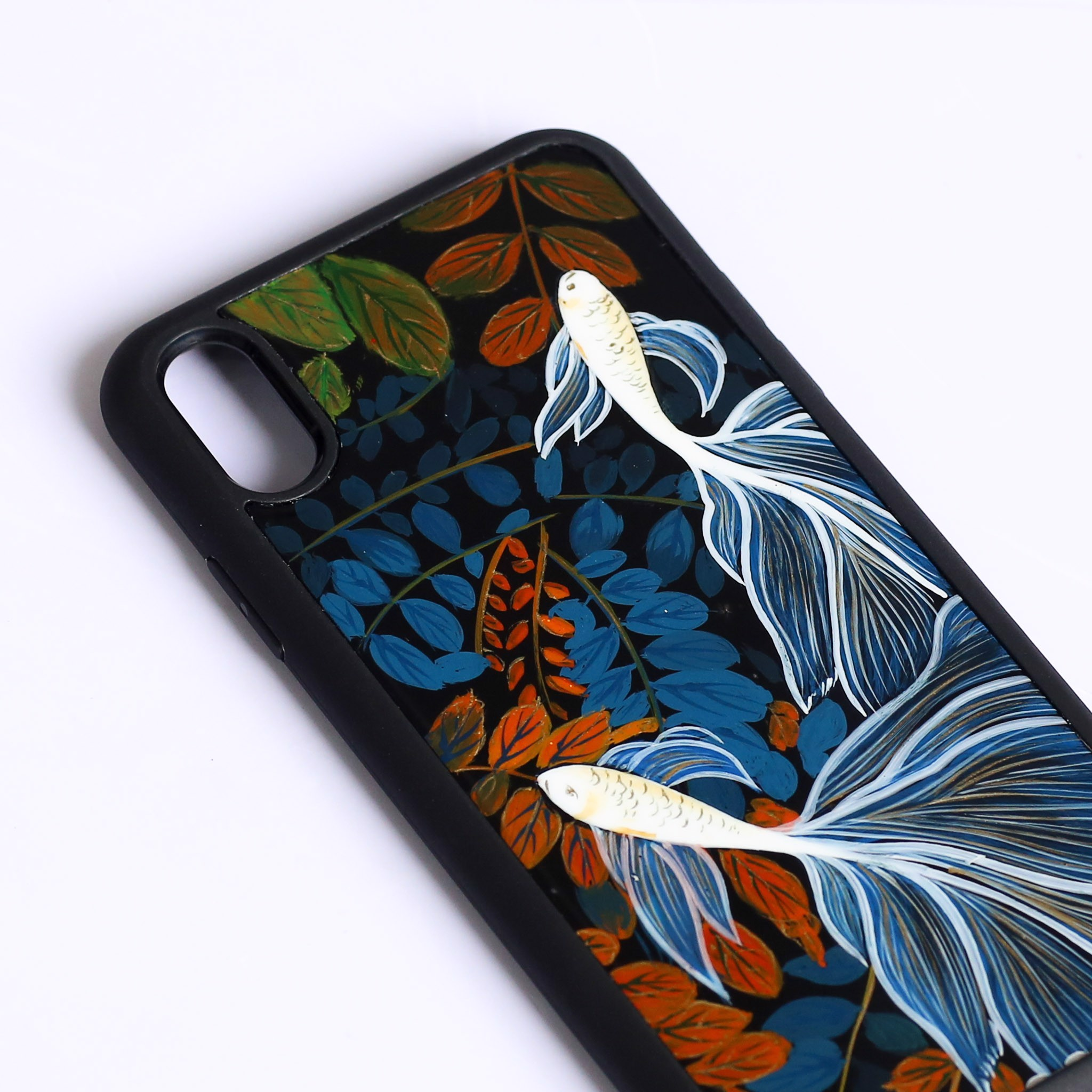 Case iPhone X-Sơn Mài Song Ngư