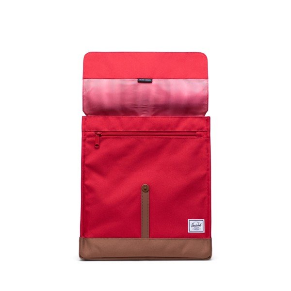 Herschel City Backpack | Mid-Volume - Red/Saddle Brown