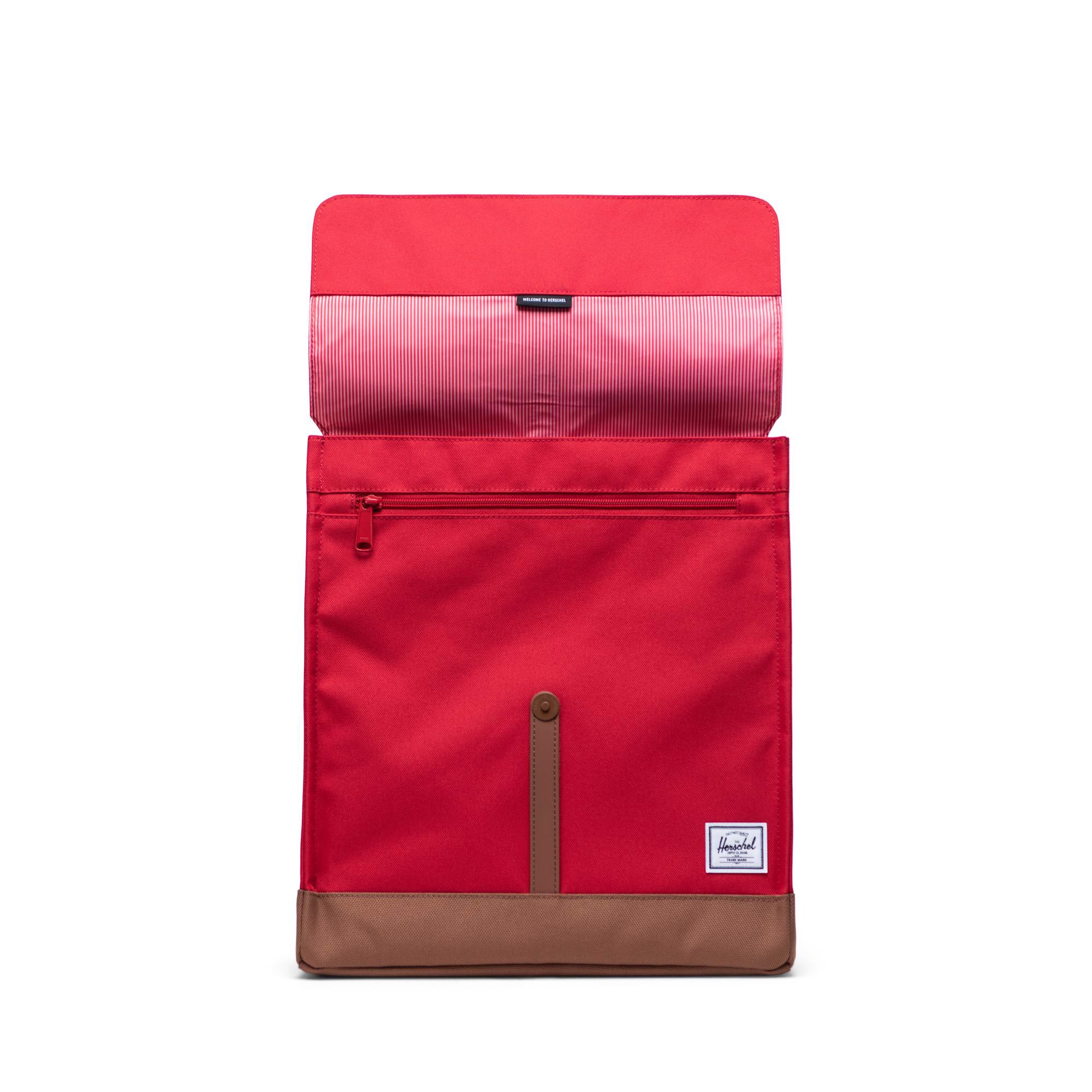 Hersche City Backpack | Mid-Volume - Red/Saddle Brown