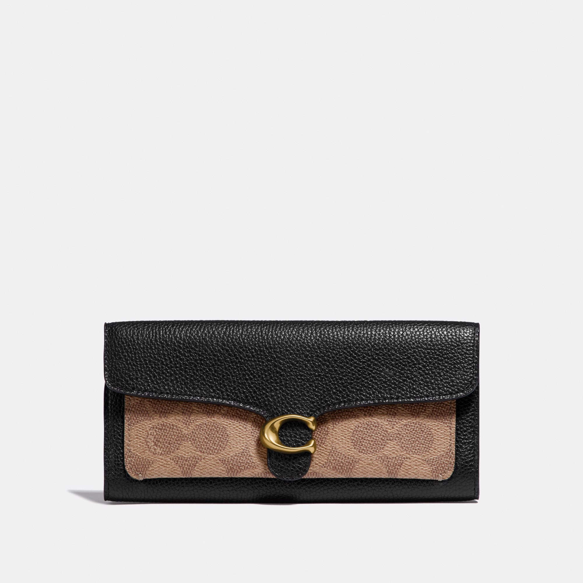 Coach Tabby Long Wallet In Colorblock Signature Canvas - Black