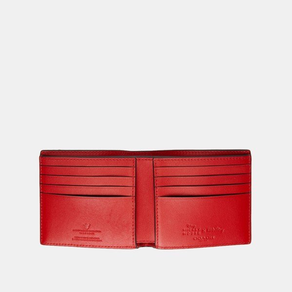Coach x Disney Mickey Mouse x Keith Haring Double Billfold in UFO Print - Red