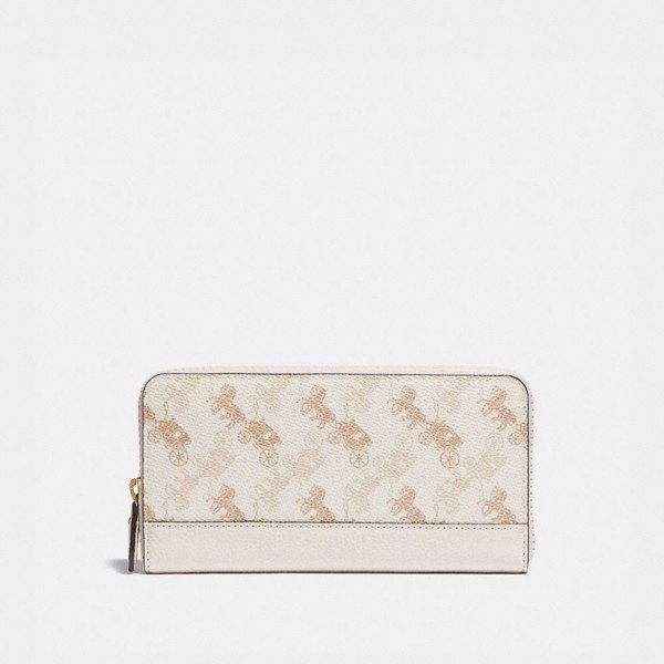 Coach Accordion Zip Wallet With Horse And Carriage Print - Chalk Taupe