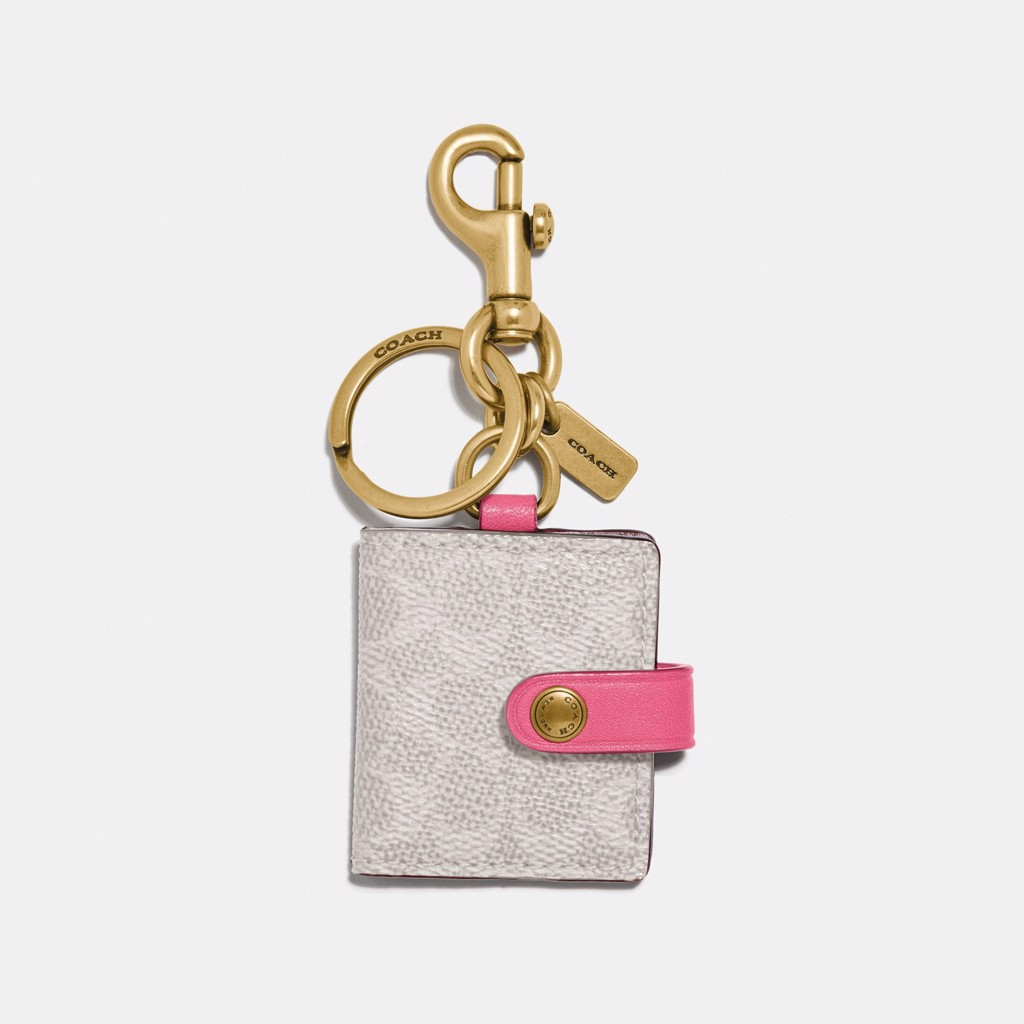 Coach Picture Frame Bag Charm In Signature Canvas