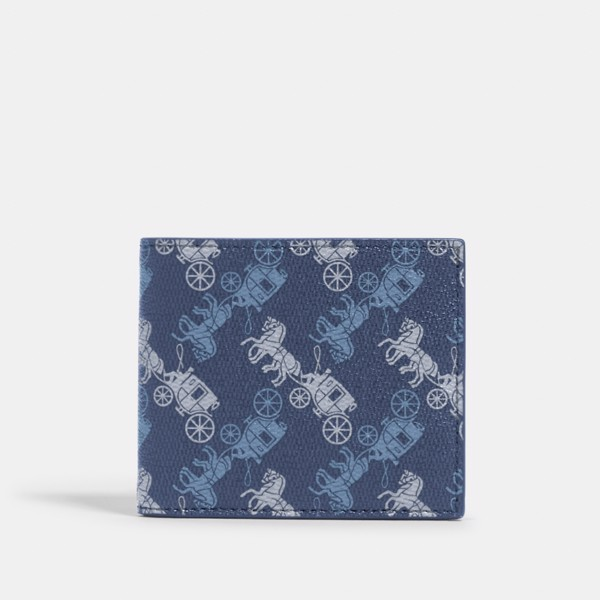 Coach ID Biilfold Wallet With Horse and Carriage Print 'Indigo'