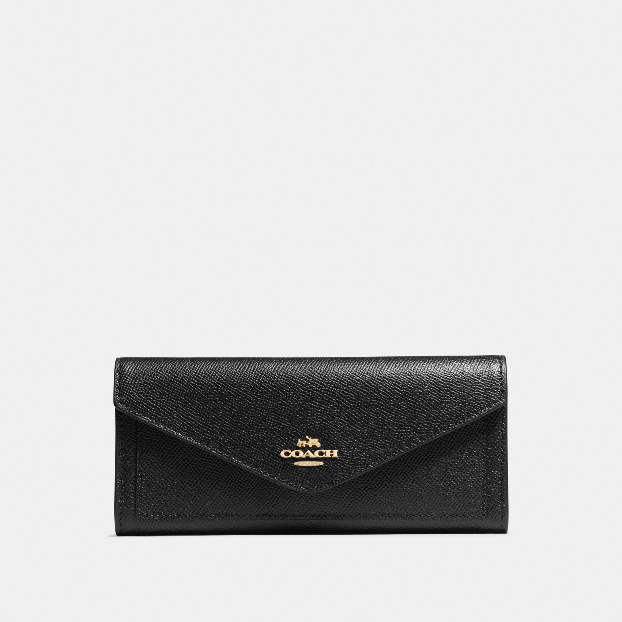 Coach Soft Wallet - Black/Light Gold