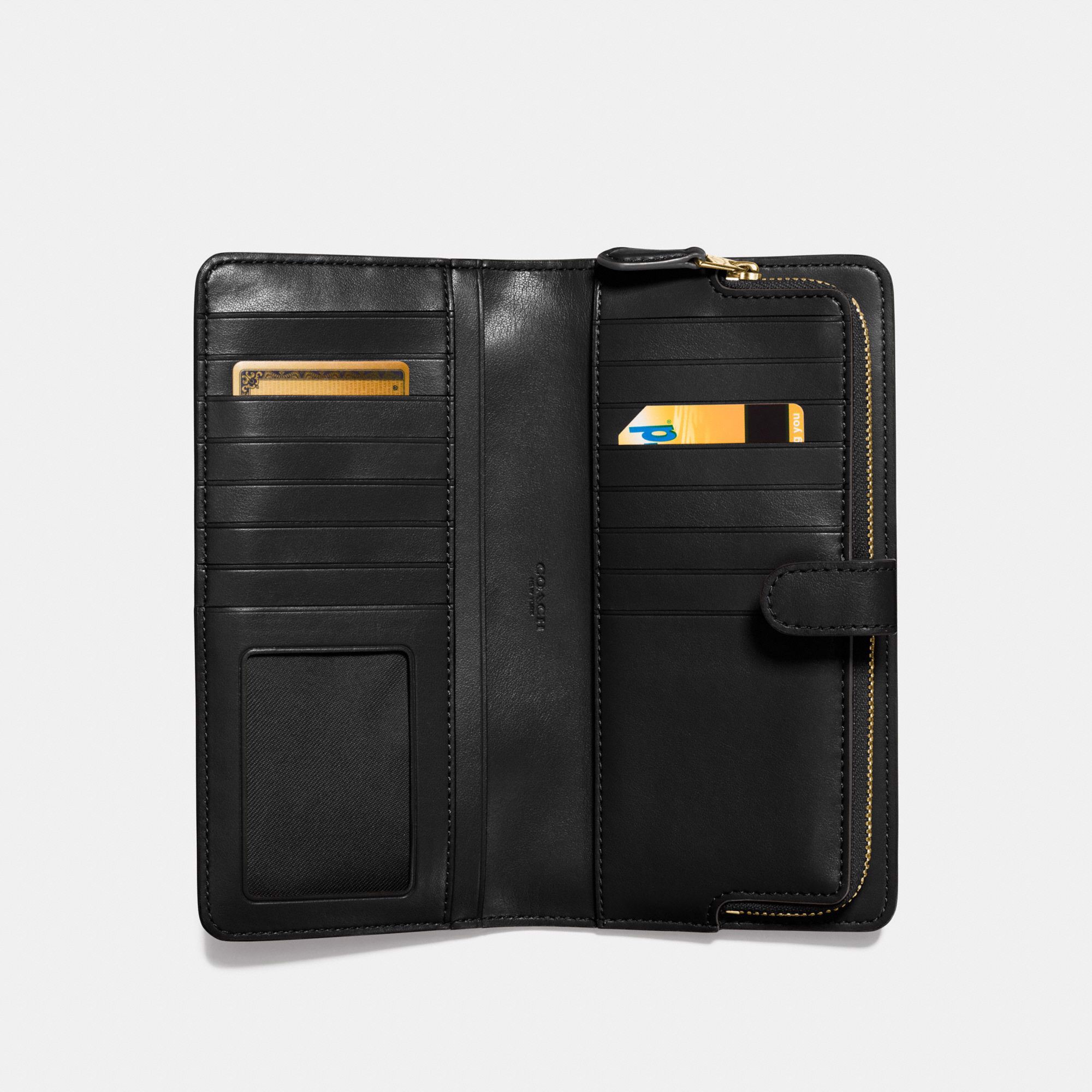 Coach Skinny Wallet - Black/Light Gold
