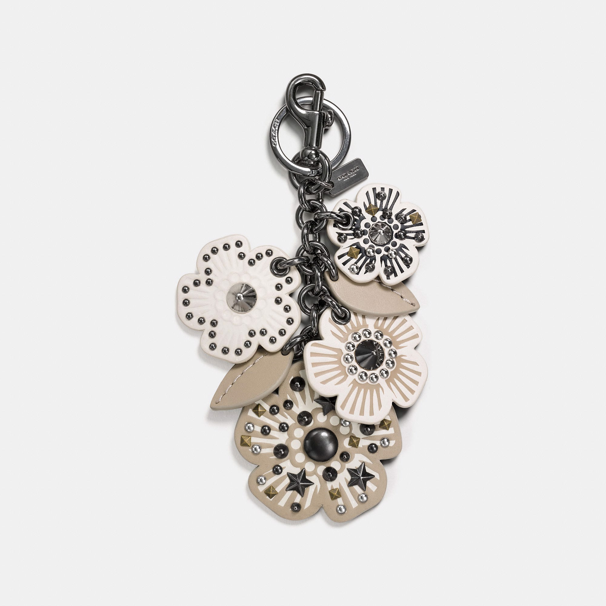 Coach Willow Floral Mix Bag Charm 'Chalk'