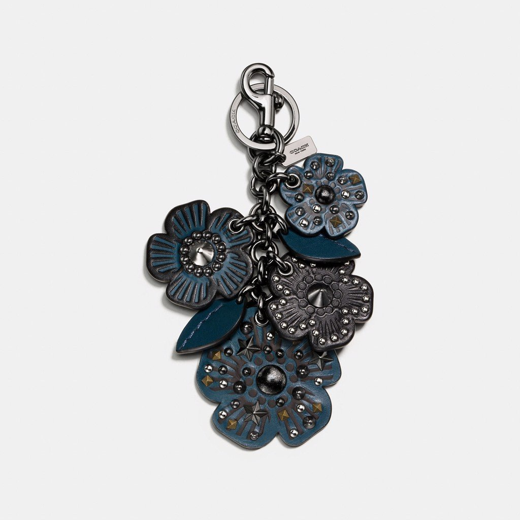 Coach Willow Floral Mix Bag Charm 'Mineral'