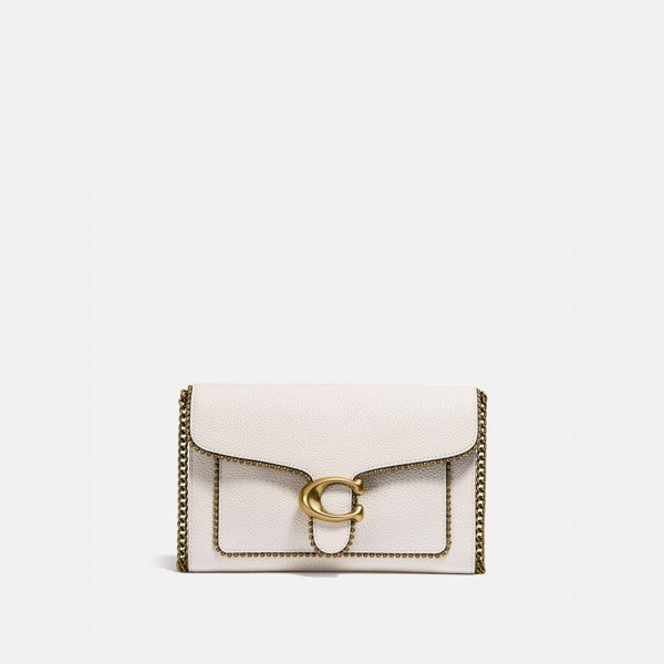 Coach Tabby Chain Clutch With Beadchain - Chalk
