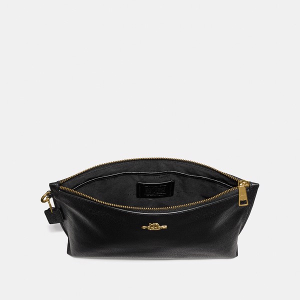 Coach Large Charlie Pouch 'Black/Gold'
