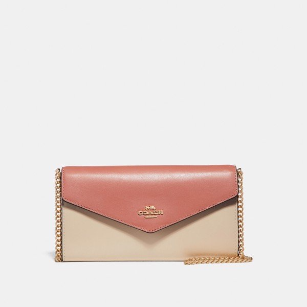 Coach Envelope Chain Wallet in Colorblock 'Light Peach'