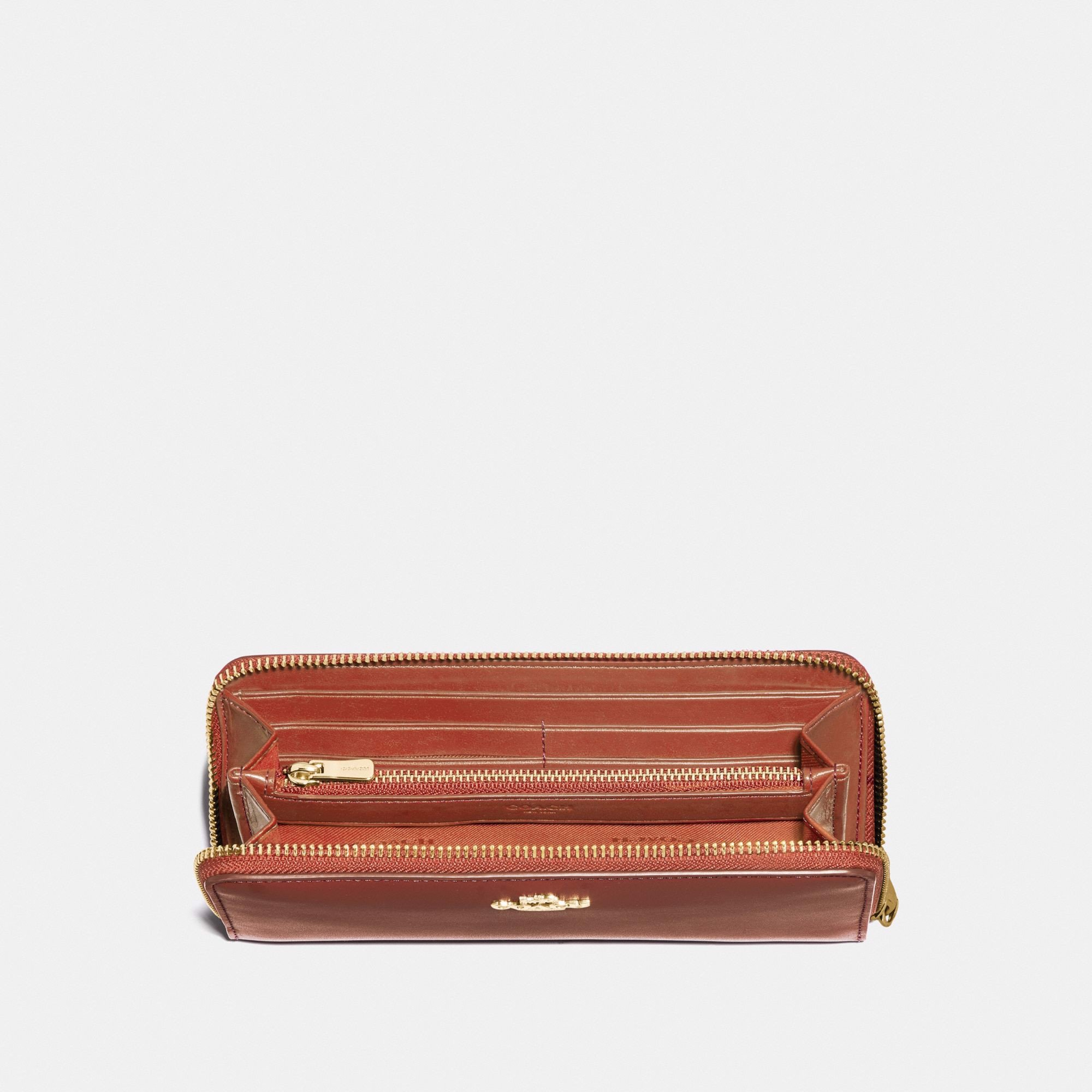 Coach Accordion Zip Wallet In Smooth Leather - Gold/Saddle