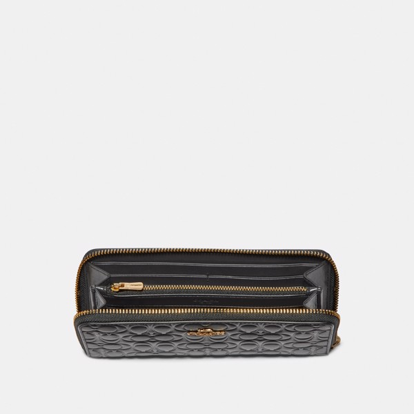 Coach Accordion Zip Wallet In Signature Leather 'Black/Gold'