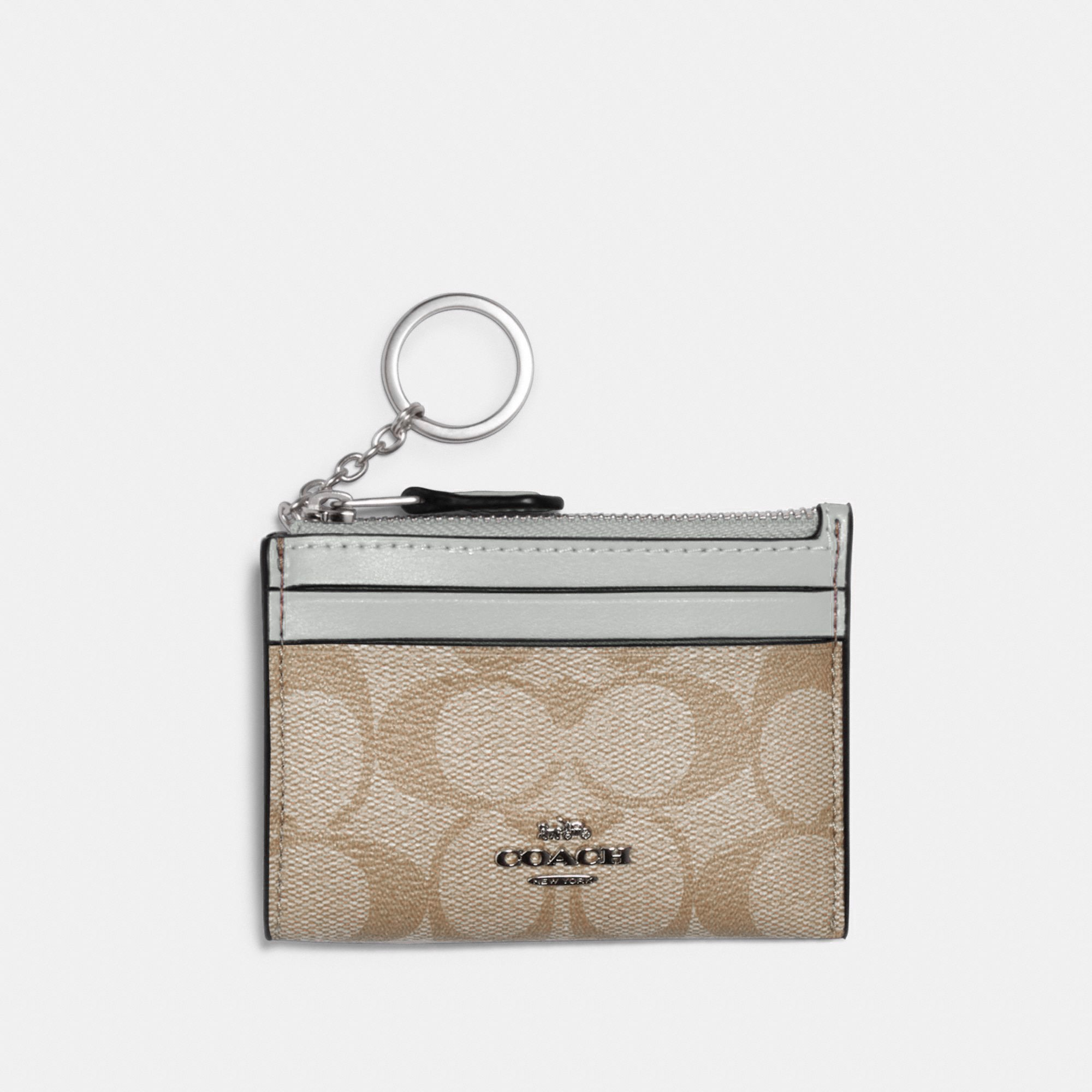 Coach Mini Skinny ID Case In Signature Canvas - Silver/Chalk