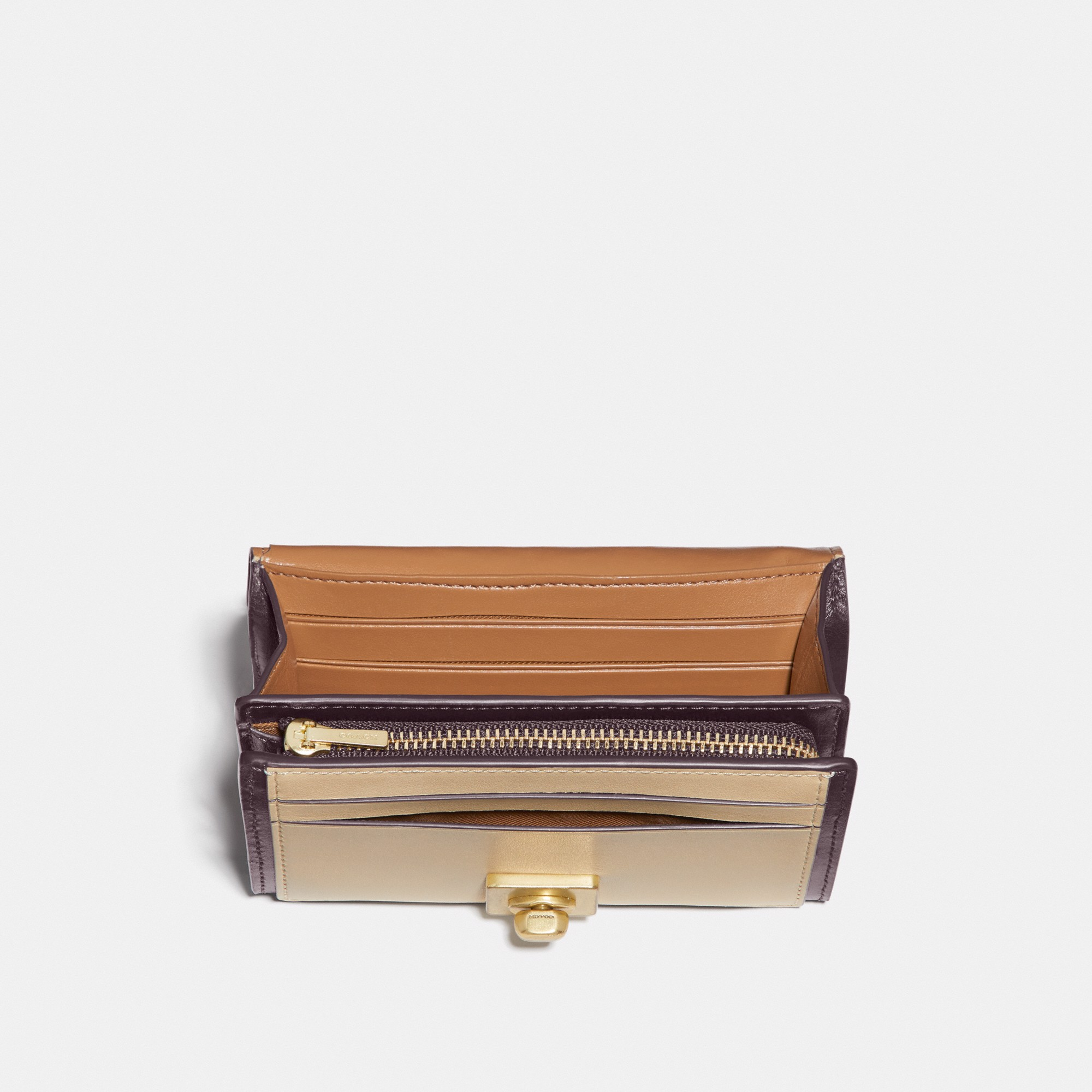 Coach Hutton Wallet in Colorblock 'Brass/Taupe Ginger Multi'