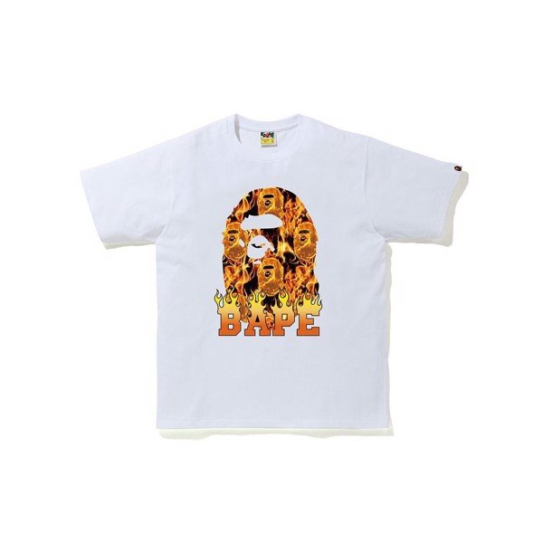 Flame Camo Big Ape Head Tee - White