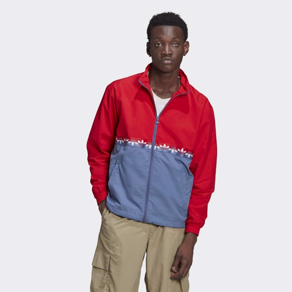 adidas Adicolor Sliced Trefoil Track Top - Crew Blue/Scarlet