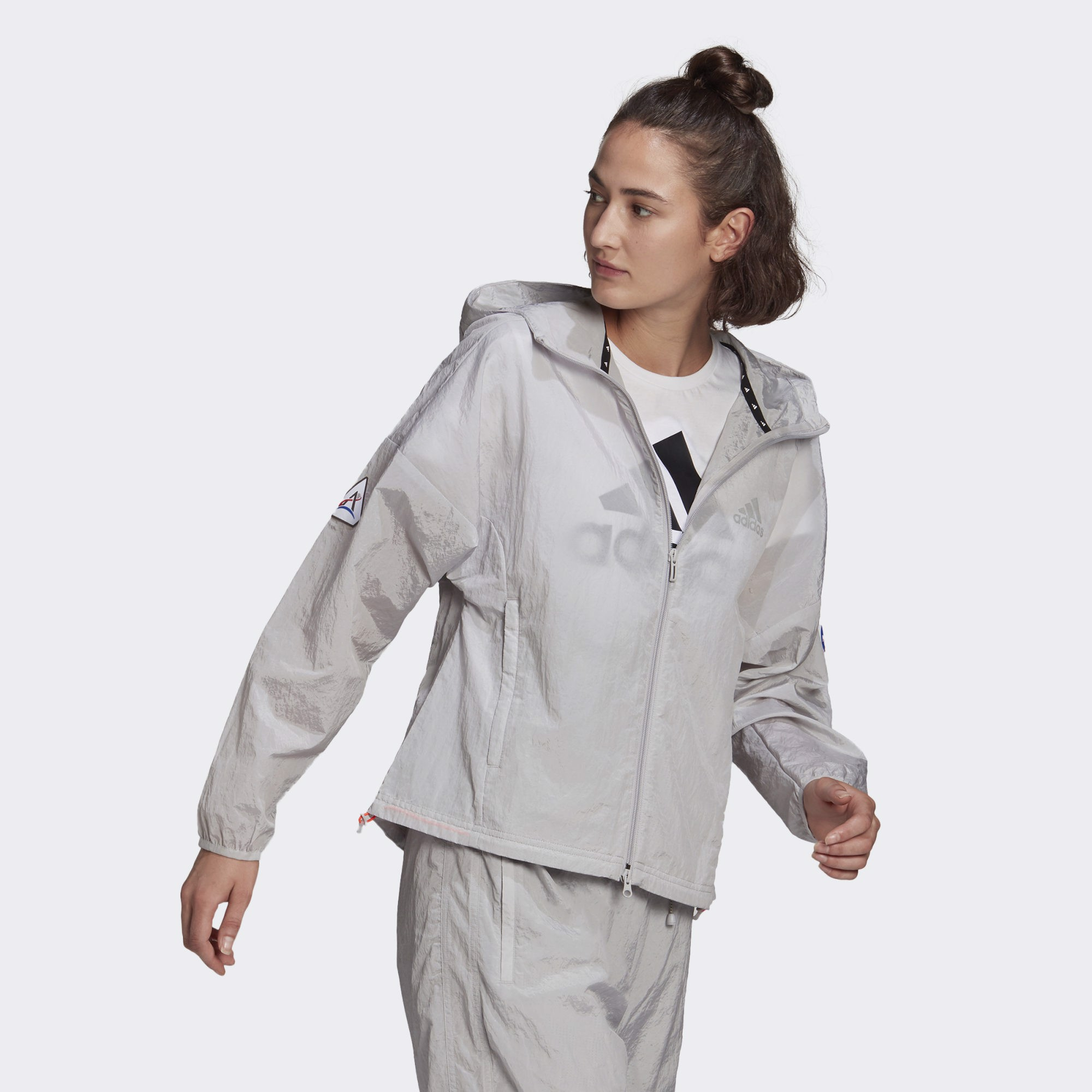 adidas Sportswear Crop Windbreaker - Grey Two