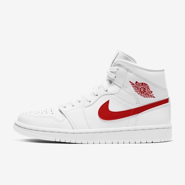 Air Jordan 1 Mid GS - White/Red