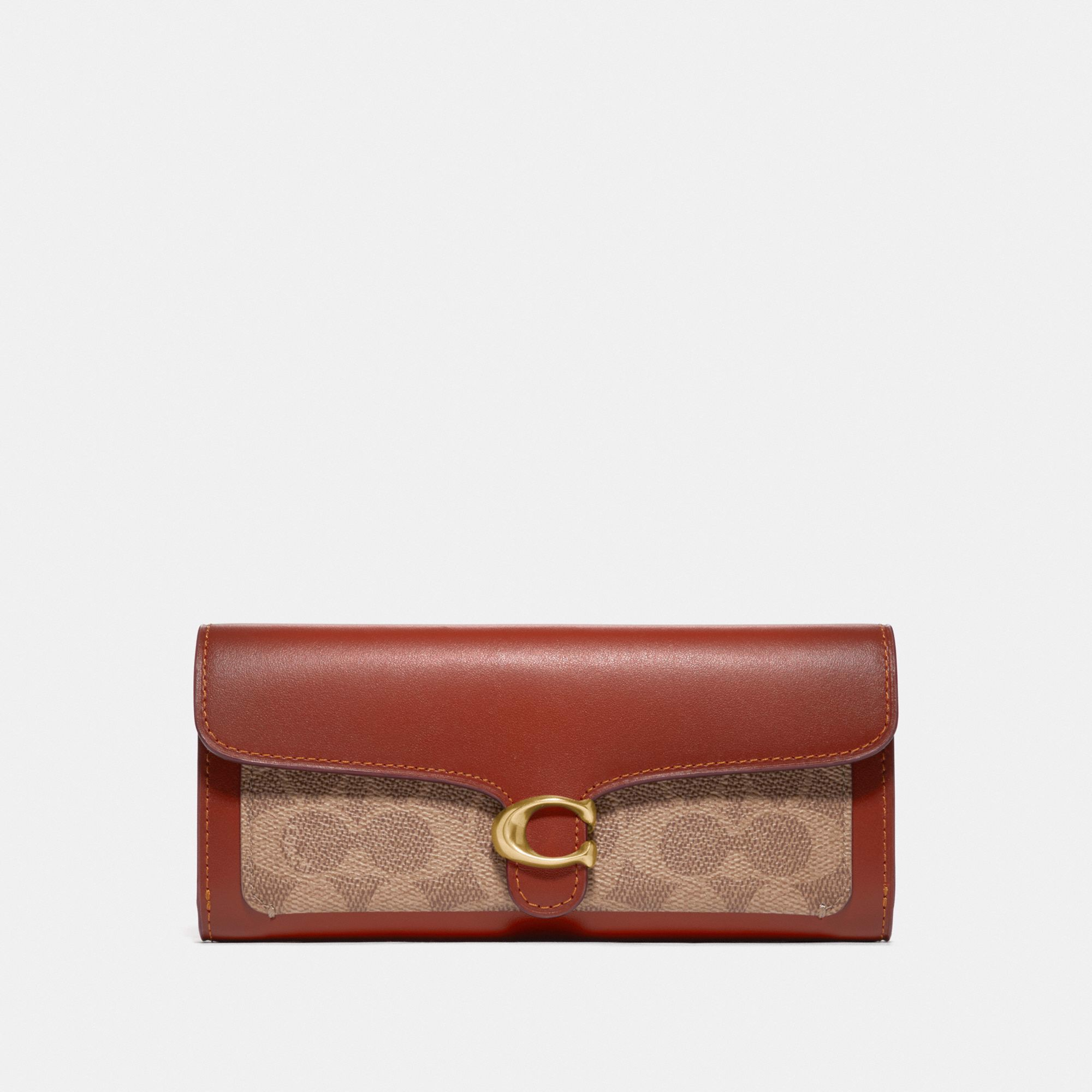 Coach Tabby Long Wallet In Colorblock Signature Canvas - Tan/Rust/Brass