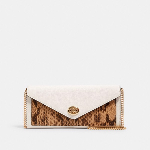 Coach Slim Envelope Wallet With Chain - Snakeskin
