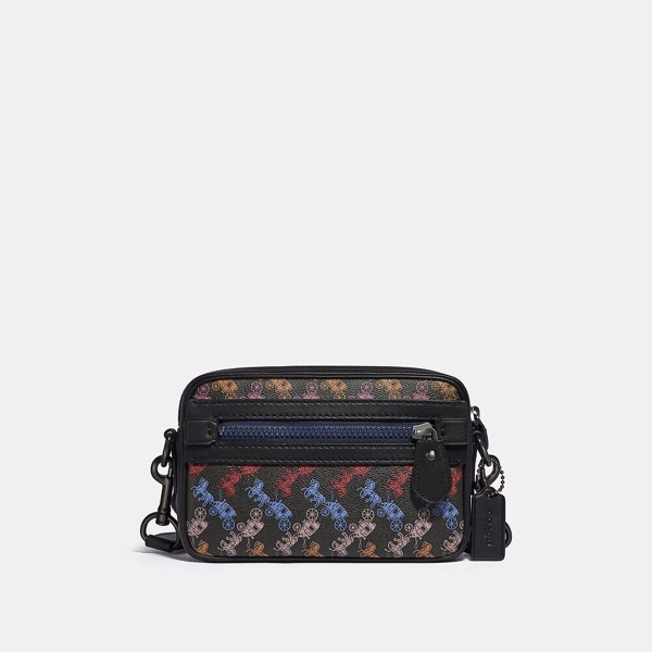 Coach Academy Crossbody With Horse And Carriage Print - Black Multi