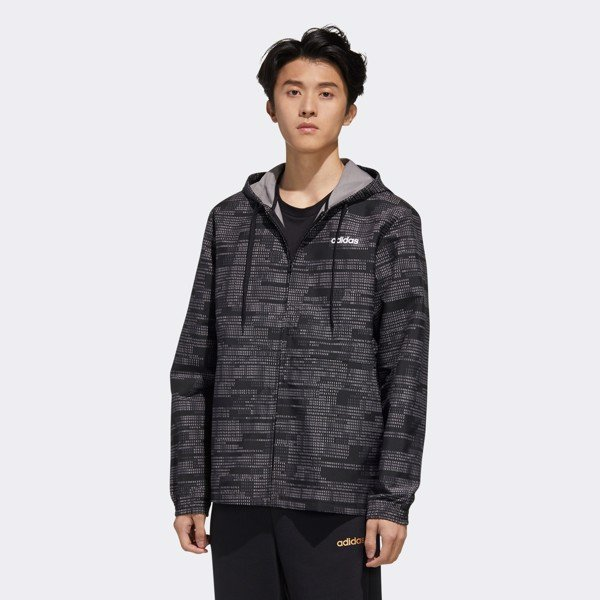 adidas Essentials Allover Print Windbreaker 'Black'