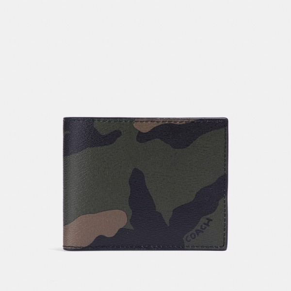 Coach 3-In-1 Wallet With Camo Print - Tangerine