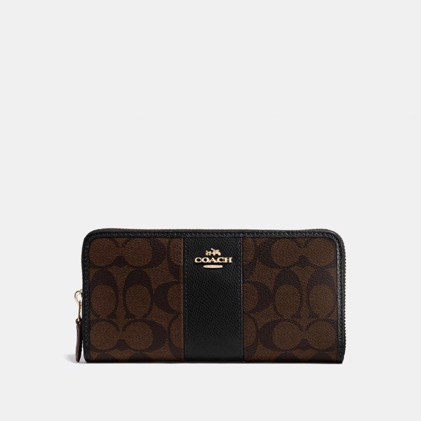 Coach Accordion Zip Wallet In Colorblock Signature Canvas 'Brown/Black'