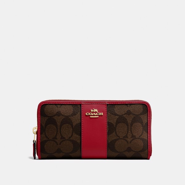 Coach Accordion Zip Wallet In Colorblock Signature Canvas 'Brown/Ruby'