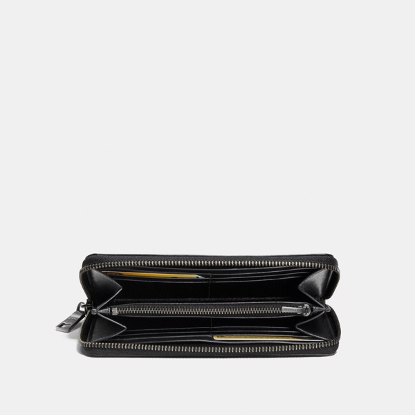 Coach Accordion Zip Wallet In Sport Calf Leather - Black