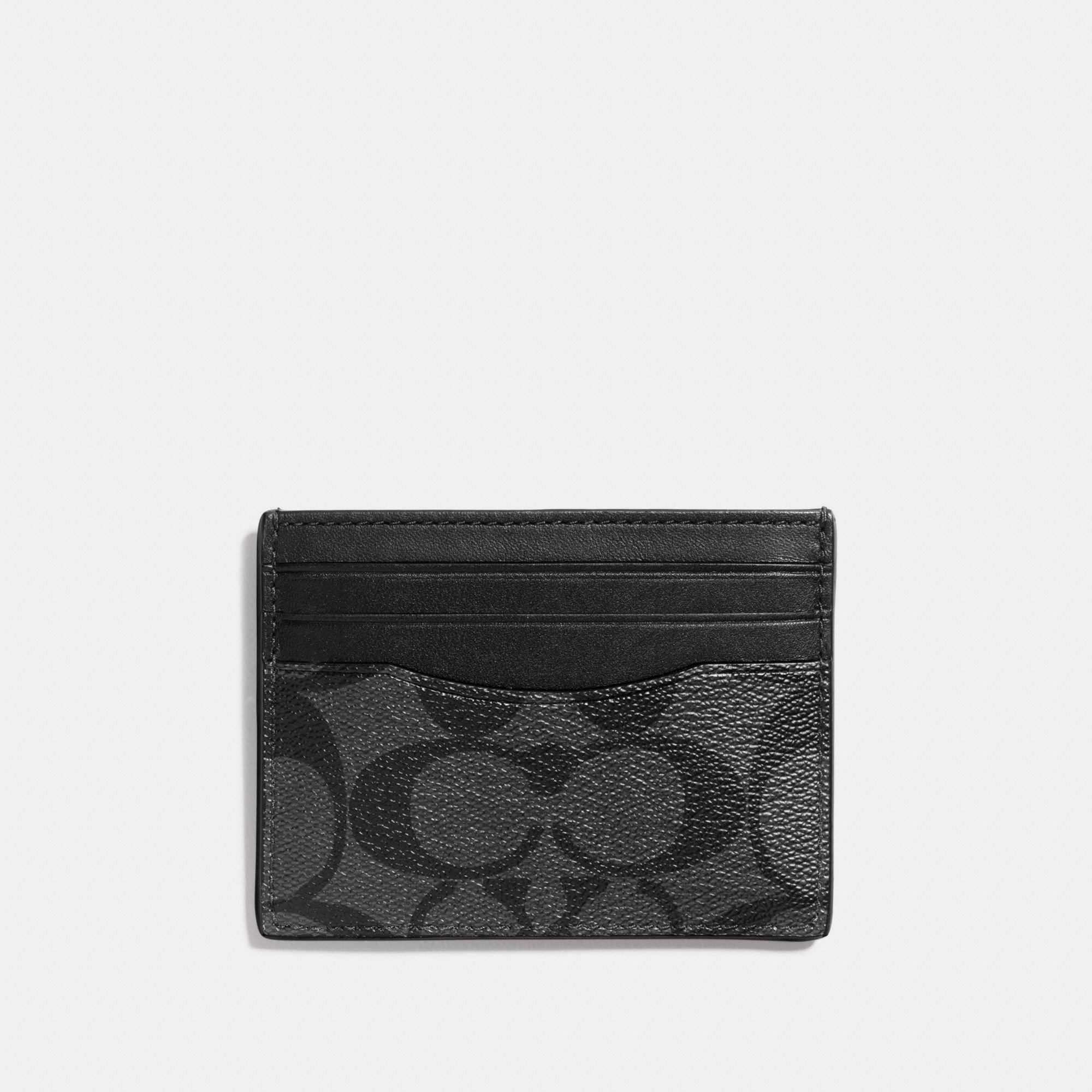 Coach Slim ID Card Case In Signature Canvas 'Black'