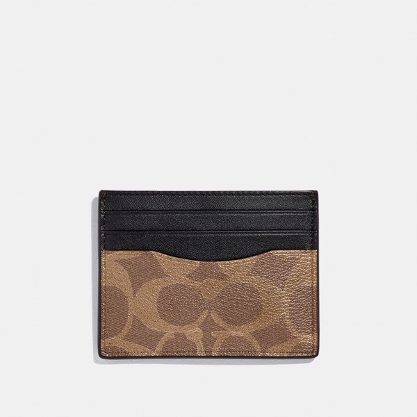 Coach Slim ID Card Case In Signature Canvas 'Tan'